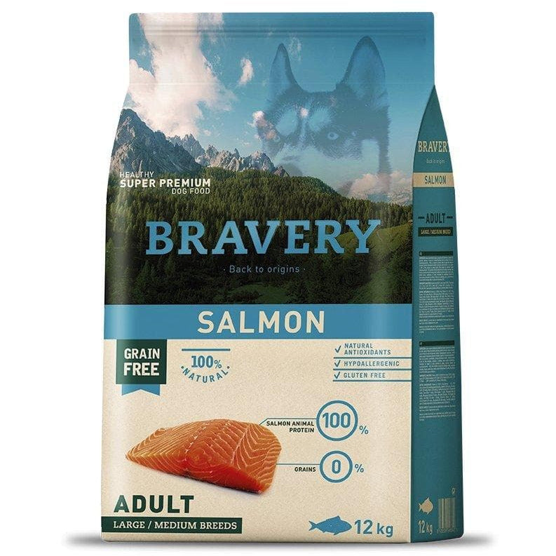 Bravery Adult Dog Kibble Salmon 4kg - Summers Pet Accessories