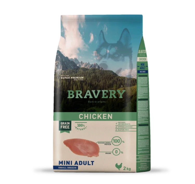 Bravery Mini Adult Dog Kibble Chicken 2kg