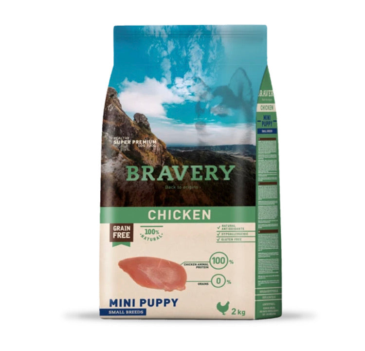 Bravery Mini Puppy Dog Kibble Chicken 2kg