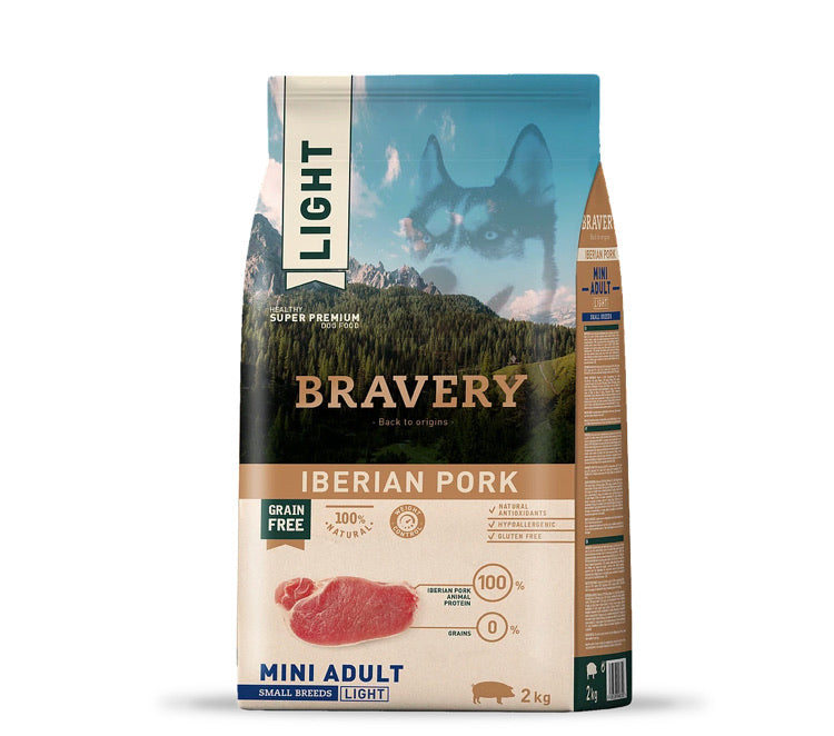 Bravery Mini Adult Dog Kibble Iberian Pork 2kg