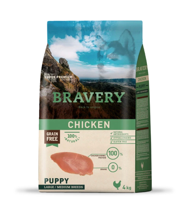 Bravery Puppy Dog Kibble Chicken 4kg