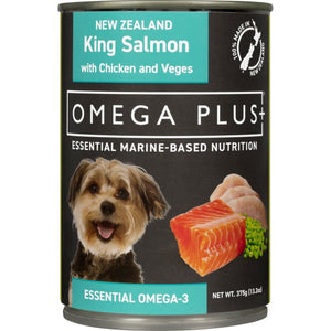 Omega Plus King Salmon, Chicken and Vegetables Can 375g - Summers Pet Accessories