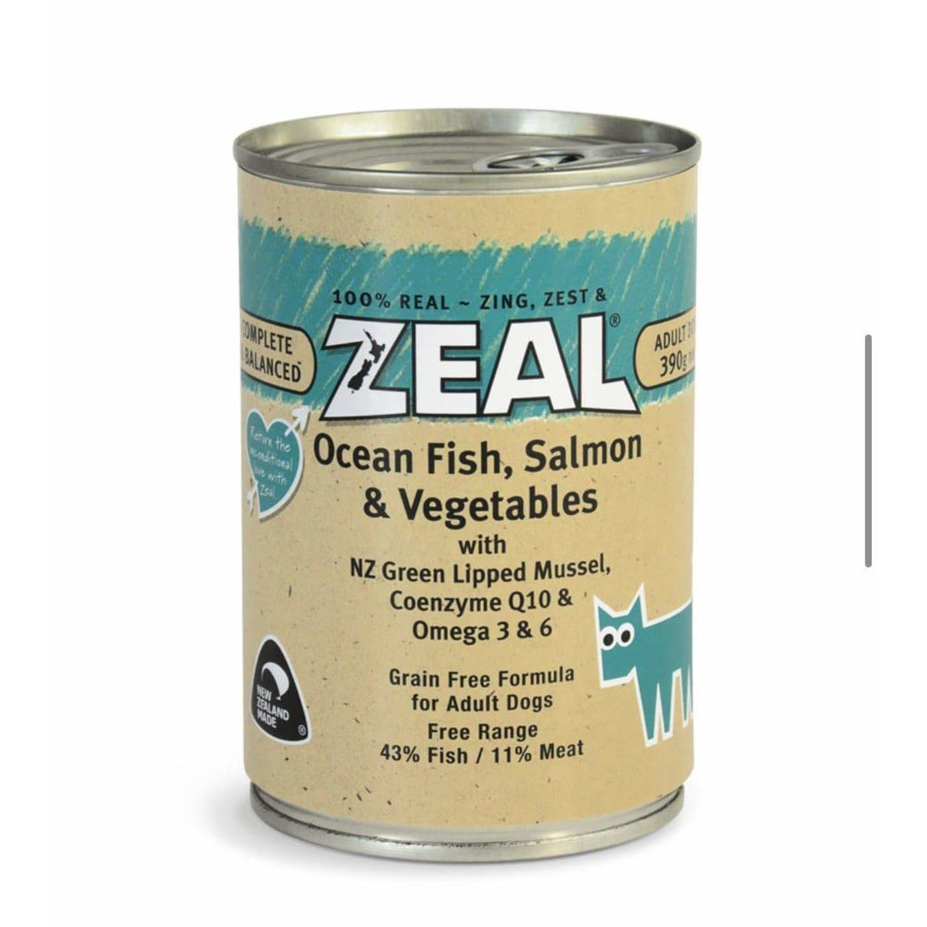 Zeal Ocean Fish, Salmon & Vegetables 390g Cans - Summers Pet Accessories