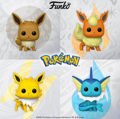 Funko POP! Pokemon S4- Flareon, Eevee, Vaporeon, Jolteon