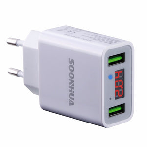 Smart Fast 2 USB Port Phone Wall Charger for iPhone, iPad, Samsung & Others