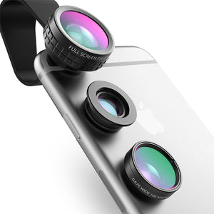 Universal 3-in-1 Clip-on Cell Phone Camera 180 Degree Fish Eye Lens+Wide Angle+Macro Lens