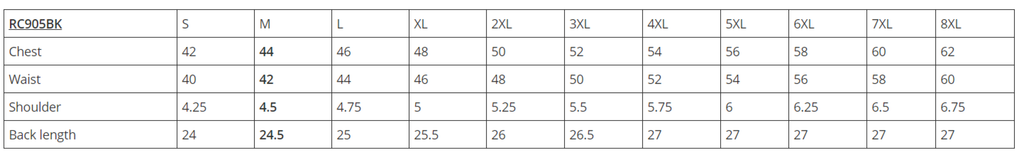 RC905 Outlaw Size Chart
