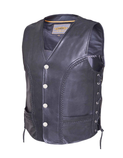 Motorcycle Vest- Unik 319 Braided Traditional MC Vest with Lace Sides