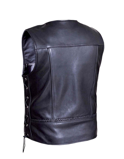 Motorcycle Vest- Unik 319 Braided Traditional MC Vest with Lace Sides Back