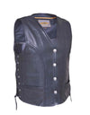 Motorcycle Vest- Unik 319.BF Braided Traditional MC Vest with Buffalo Snaps and Lace Sides