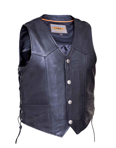 Motorcycle Vest- Unik 331.BF Traditional Western Cut Vest With Lace Sides And Buffalo Snaps
