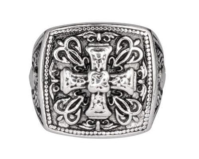 Greek Cross Biker Ring