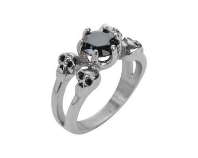 Ladies Black Stone 4 Skull Ring
