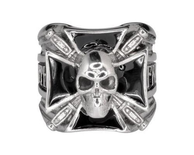 Maltese Skull w/Knives Biker Ring