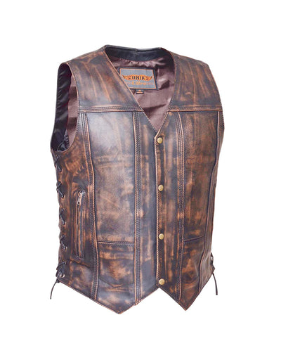 Motorcycle Vest- Unik 10 Pocket Brown