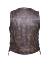 Motorcycle Vest- Unik 10 Pocket Brown Back