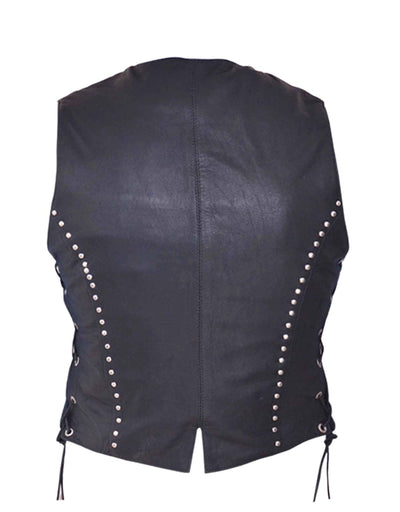 Motorcycle Vest- Unik Studded Women's Vest Back