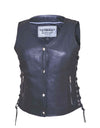 Motorcycle Vest- Unik 4 Snap Ladies Vest Lace Sides