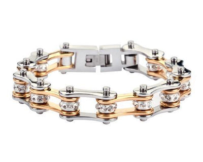 Silver & Gold Motorcycle Chain Bracelet w/Crystals