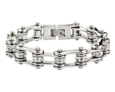 Silver Motorcycle Chain Bracelet w/Crystals