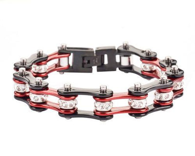 Black & Red Motorcycle Chain Bracelet