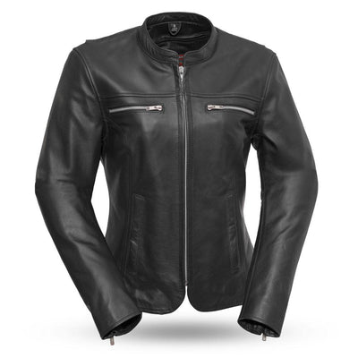 Roxy Light Weight Café Style Leather Motorcycle Jacket