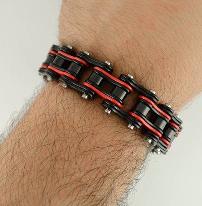 Black & Red Double Link Biker Bracelet