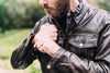 Men's Leather Motorcycle Jacket- First Mfg. Villain Sleeves