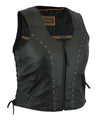 Motorcycle Vest- Daniel Smar DS241 Ladies Riveted Lace Side Leather Vest