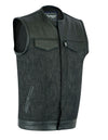 Motorcycle Vest- Daniel Smart Leather/Denim 49/51 Combo MC Vest No Collar