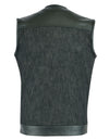 Motorcycle Vest- Daniel Smart Leather/Denim 49/51 Combo MC Vest No Collar Back