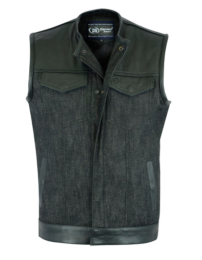 Motorcycle Vest- Daniel Smart Leather/Denim 49/51 Combo MC Vest No Collar Front