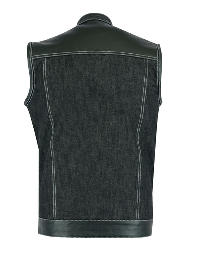 Motorcycle Vest- Daniel Smart RC900 Leather and Denim 49/51 Combination MC Vest Back