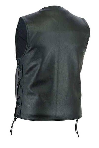 Motorcycle Vest- Daniel Smart Single Panel w/Lace Sides Back