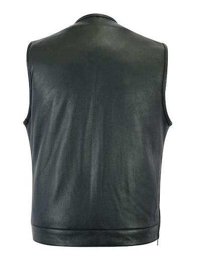 Motorcycle Vest- Daniel Smart RC187 MC Leather Vest No Collar Back