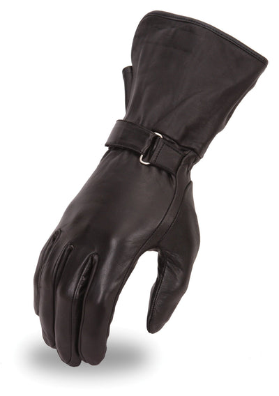 Women's Leather Motorcycle Gloves - First Mfg. FI126GL Black Top