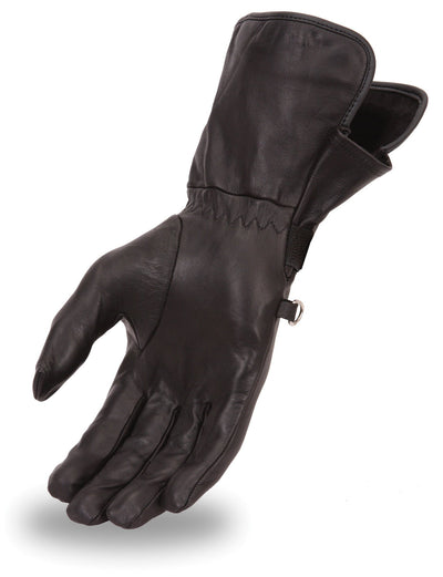 Women's Leather Motorcycle Gloves - First Mfg. FI126GL Black Hand