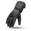Men's Leather Motorcycle Gloves - First Mfg. FI188 Black Top