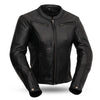 Women's Leather Motorcycle Jacket - First Mfg. Speed Queen Black Front