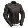 Women's Leather Motorcycle Jacket - First Mfg. Trickster Distressed Brown Front