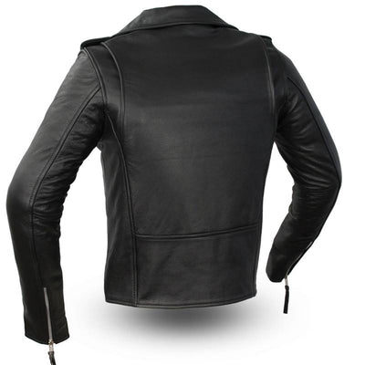 Women's Leather Motorcycle Jacket - First Mfg. Rockstar Black Back