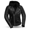 Women's Leather Motorcycle Jacket - First Mfg. Ryman Black Front