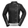 Women's Leather Motorcycle Jacket - First Mfg. Warrior Princess Black Front
