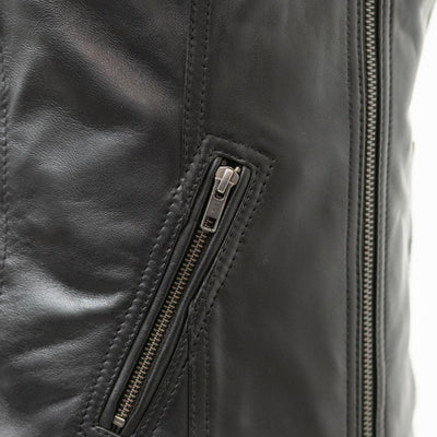 Women's Leather Motorcycle Vest - First Mfg. Cindy Black Front Zipper Pocket