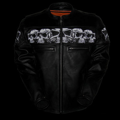 Motorcycle Jacket- First FIM243CSLZ Savage Skulls Men's Leather Jacket Reflective Front