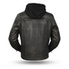 Motorcycle Jacket- First FIM276SDTZ Vendetta Hooded Distressed Men's Leather Jacket Back