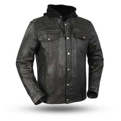 Motorcycle Jacket- First FIM276SDTZ Vendetta Hooded Distressed Men's Leather Jacket