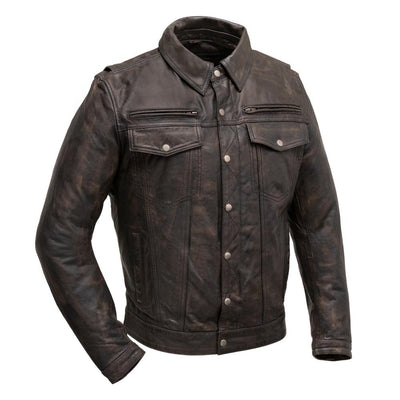 Men's Leather Motorcycle Jacket- First Mfg. Villain Front