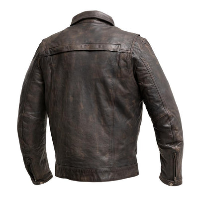 Men's Leather Motorcycle Jacket- First Mfg. Villain Back