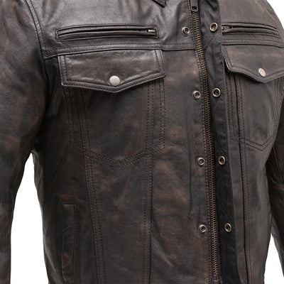 Men's Leather Motorcycle Jacket- First Mfg. Villain Front 2
